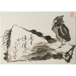 Fan Zeng b. 1938 Chinese Ink on Paper Resting Crow