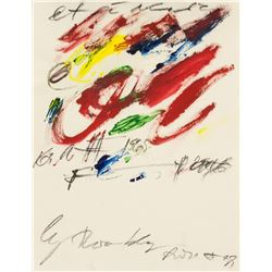 Cy Twombly American Abstract Acrylic Paper C.1965