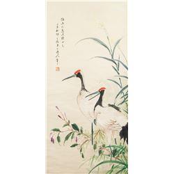 Chen Banding 1876-1970 Chinese Watercolor Crane