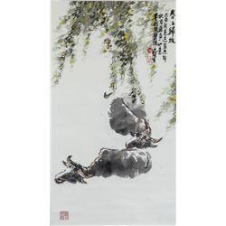 Wu Yisheng 1929-2009 Chinese Watercolor Buffalo