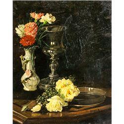 Anton Zilzer Hungarian Still Life Oil on Canvas