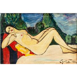 Illegibly Signed Oil on Canvas Lady Nude Portrait