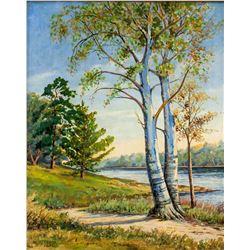 WH Cross Oil on Board Landscape 1943