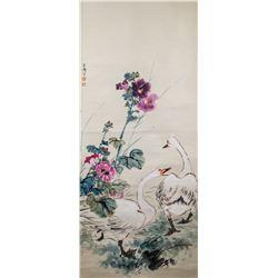 Wang Xuetao 1903-1982 Chinese Watercolor Geese