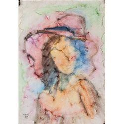 Bela Kadar Hungarian Modernist Watercolor on Paper