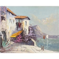 Alfred Caldini Italian Modernist Oil on Canvas