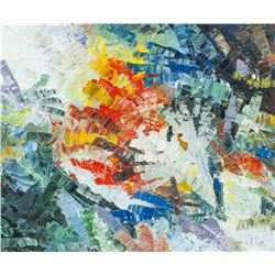Canadian Abstract Oil on Canvas Signed Riopelle