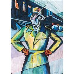 Ivan Puni Russian Suprematist Gouache on Paper