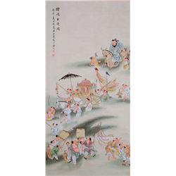 Huang Shanshou 1855-1919 Chinese Watercolor Scroll