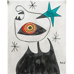 Joan Miro Spanish Surrealist Watercolor on Paper