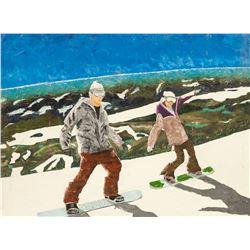 Oil on Canvas Snowboarder Unknown Artist