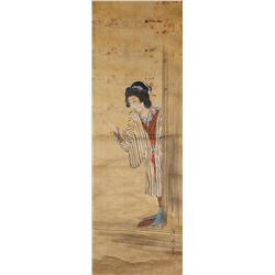 18th Century Japanese Watercolor Scroll Signed