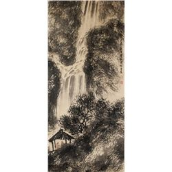 Fu Baoshi 1904-1965 Chinese Watercolor Waterfall