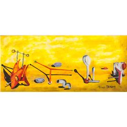 Yves Tanguy French Surrealist Oil on Canvas