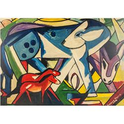 Franz Marc German Cubist Acrylic on Panel