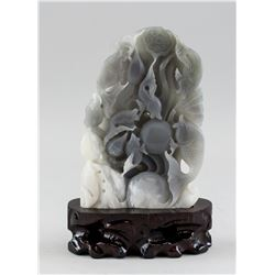 Chinese Jade Carved Fish Boulder with Stand