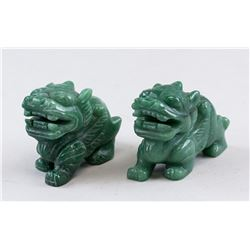 Pair Chinese Green Jade Carved Pixiu Statue