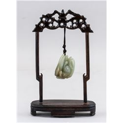 Chinese Light Green Jade Carved Pendant & Stand