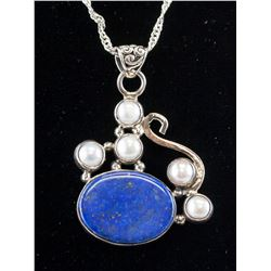 Chinese Silver Lapis Pearl Necklace