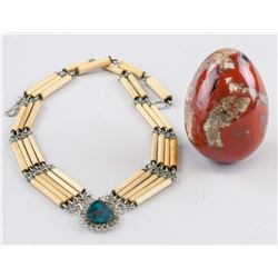 Two Assorted Necklace and Red Stone Ball Gemstone