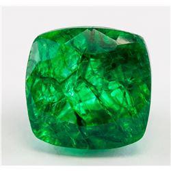 15.40ct Cushion Cut Green Emerald Gemstone GGL