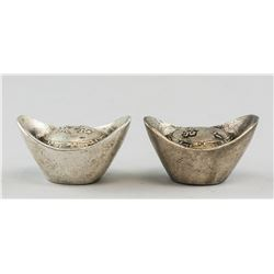 Two Chinese Silver Boat Money Jiaqing Mark