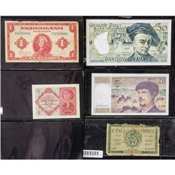 5 Assorted French and Dutch Banknotes