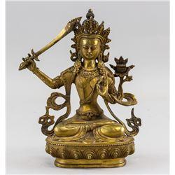 Chinese Gilt Bronze Manjushri Statue