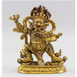 Tibetan Bronze Cast Mahakala Statue