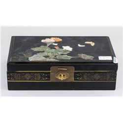 Chinese Black Wood Lacquer Box with Stone Inlaid
