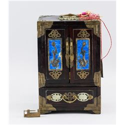 Chinese Wood Carved 5-Drawer Cabinet Jewelry Box