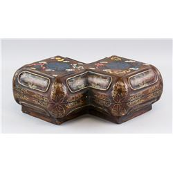 Chinese Wood Carved Double Square Box Kangxi MK