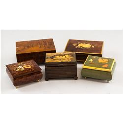 Five Assorted Wooden Musical Boxes