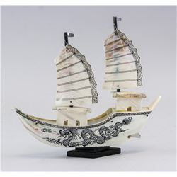 Chinese Mother of Pearl Carved Fanchuan Junk Ship