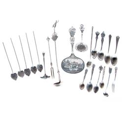 Collection of 21 sterling & silver serving implements