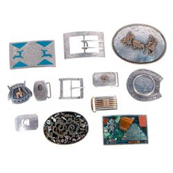 Collection of 12 assorted belt buckles