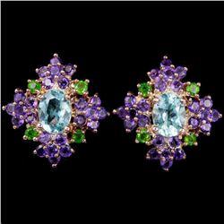 Natural  SKY BLUE TOPAZ, AMETHYST Earrings