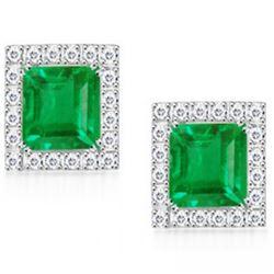 Stunning Columbian Emerald & Diamond EarRings