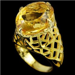NATURAL 16X12 MM. OVAL ORANGISH YELLOW CITRINE Ring