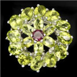 Natural 7x5 Mm Rich Green Peridot Garnet Ring