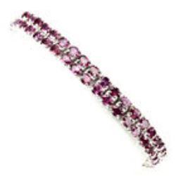 Natural 4x3mm Pink Raspberry Rhodolite Garnet Bracelet