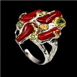 Natural Hand Made 12x5mm Red Coral Emerald Peridot Ring