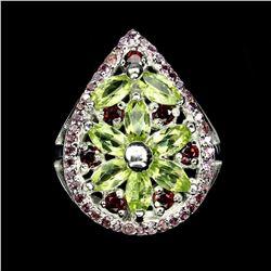 Natural Top Rich Green Peridot Rhodolite Garnet Ring