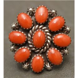 NAVAJO INDIAN CORAL RING AND EARRINGS (MARY MARIE)