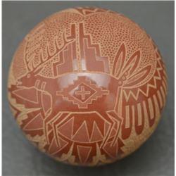 SANTA CLARA INDIAN POTTERY SEED JAR (JOSEPH LONEWOLF )