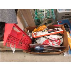 Box of Assorted Tools, Hardware, Household & More