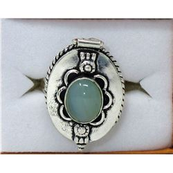 Custom Made Chalcedony Poison Ring - Size 7
