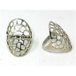 Large Sterling Silver Filigree Dome Ring