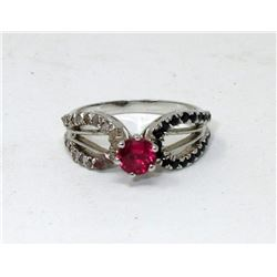 Sterling Silver and Crystal Dinner Ring - Size 7