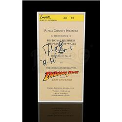 INDIANA JONES AND THE LAST CRUSADE - Royal Charity Premiere Ticket (Signed by Michael Sheard)